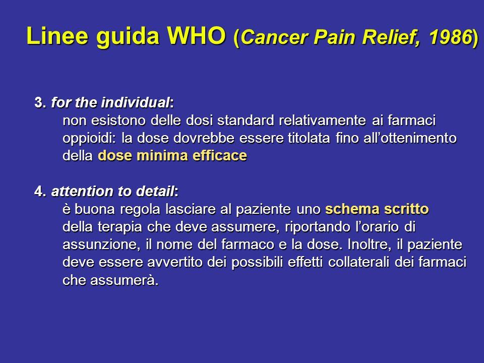 Linee guida WHO (Cancer Pain Relief, 1986) 3. for the individual: non esistono delle dosi standard relativamente ai farmaci oppioidi: la dose dovrebbe