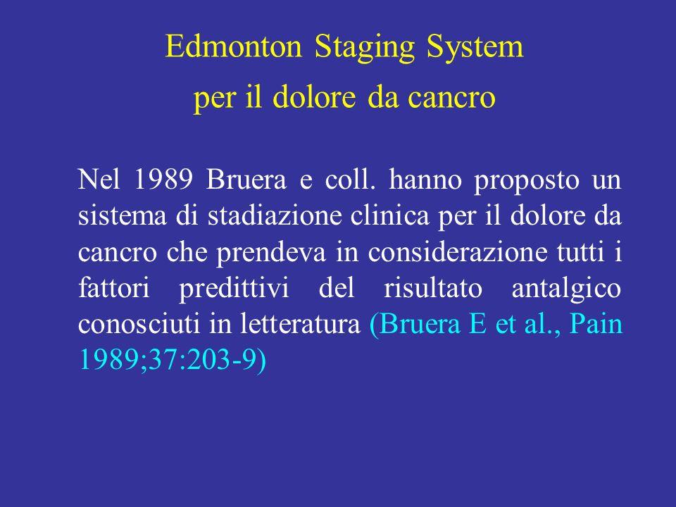 Nel 1989 Bruera e coll. hanno proposto un sistema di stadiazione clinica per il dolore da cancro che prendeva in considerazione tutti i fattori predit