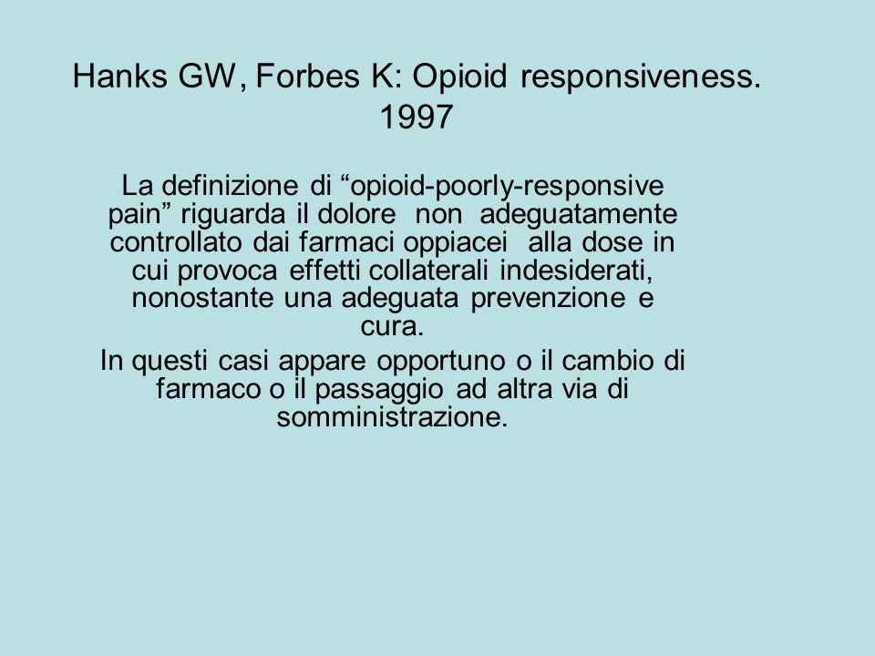 Hanks GW, Forbes K: Opioid responsiveness. 1997 La definizione di opioid-poorly-responsive pain riguarda il dolore non adeguatamente controllato dai f