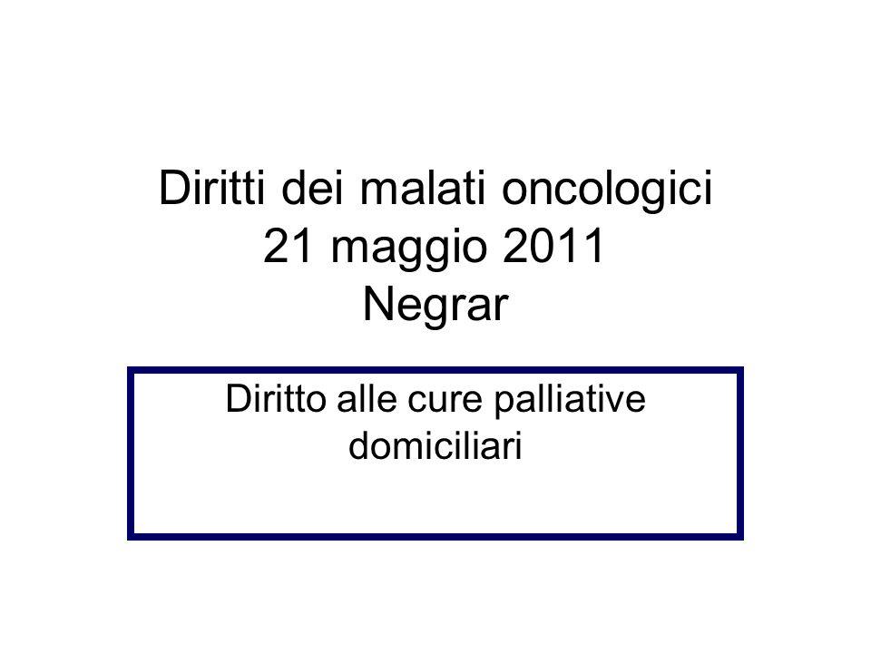 Diritti dei malati oncologici 21 maggio 2011 Negrar Diritto alle cure palliative domiciliari