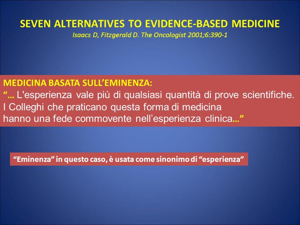 SEVEN ALTERNATIVES TO EVIDENCE-BASED MEDICINE Isaacs D, Fitzgerald D. The Oncologist 2001;6:390-1 MEDICINA BASATA SULLEMINENZA: … L'esperienza vale pi