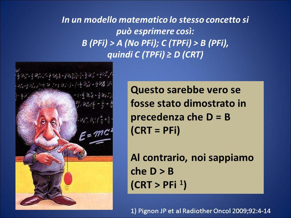 In un modello matematico lo stesso concetto si può esprimere così: B (PFi) > A (No PFi); C (TPFi) > B (PFi), quindi C (TPFi) D (CRT) Questo sarebbe ve