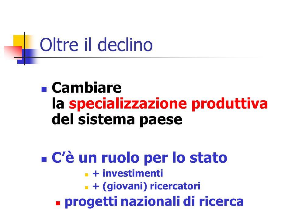 Oltre il declino Cambiare la specializzazione produttiva del sistema paese Cè un ruolo per lo stato + investimenti + (giovani) ricercatori progetti nazionali di ricerca