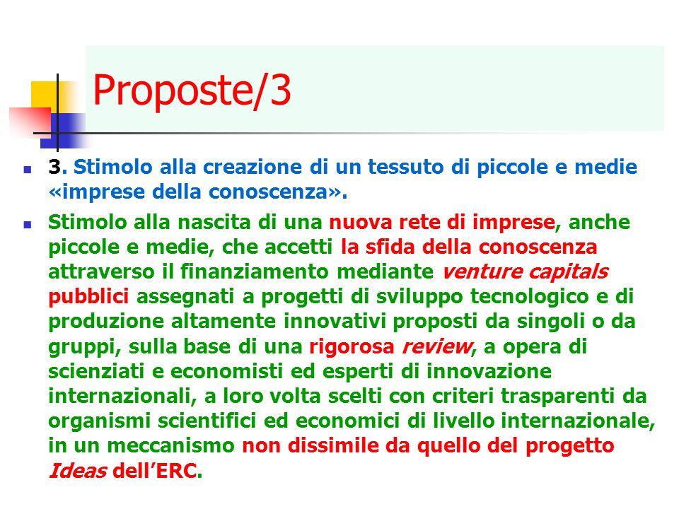 Proposte/3 3. Stimolo alla creazione di un tessuto di piccole e medie «imprese della conoscenza».