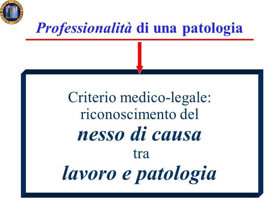 Professionalità di una patologia Criterio medico-legale: riconoscimento del nesso di causa tra lavoro e patologia