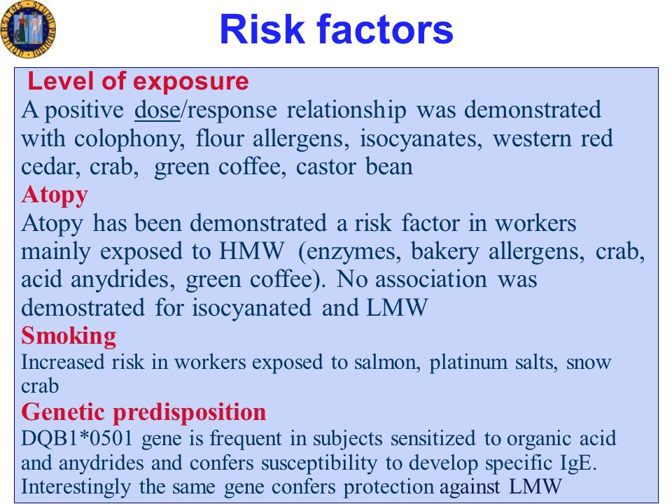 Risk factors Level of exposure A positive dose/response relationship was demonstrated with colophony, flour allergens, isocyanates, western red cedar, crab, green coffee, castor bean Atopy Atopy has been demonstrated a risk factor in workers mainly exposed to HMW (enzymes, bakery allergens, crab, acid anydrides, green coffee).