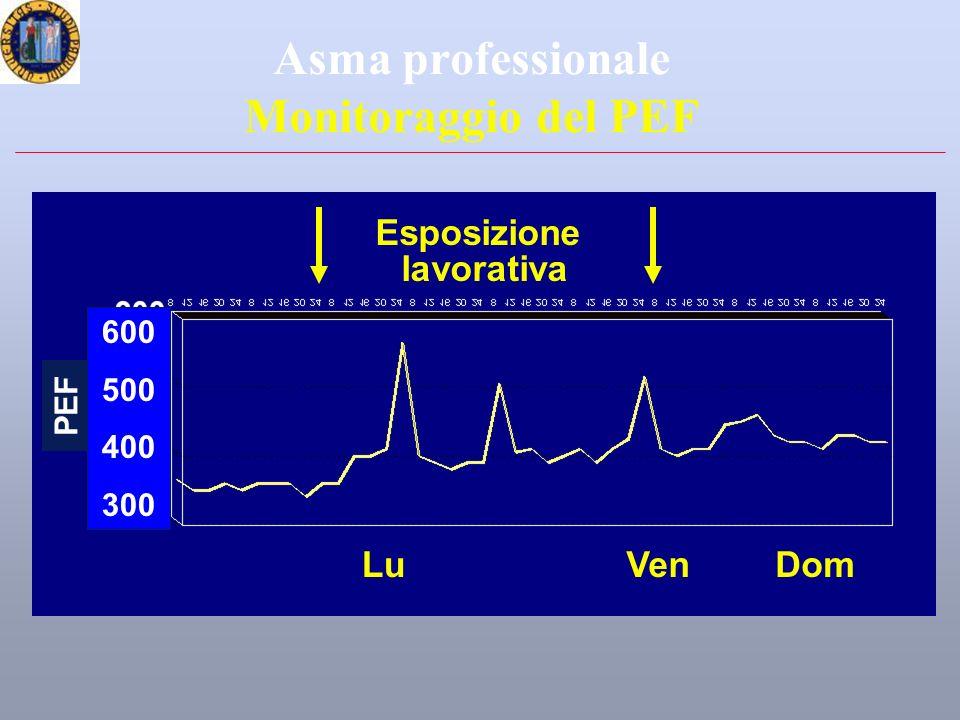 Asma professionale Monitoraggio del PEF LuDomVen Esposizione lavorativa PEF 600 500 400 300