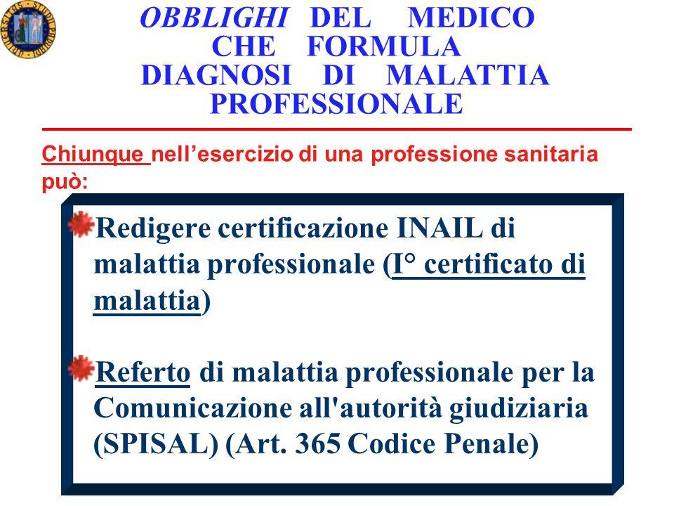 Redigere certificazione INAIL di malattia professionale (I° certificato di malattia) Referto di malattia professionale per la Comunicazione all autorità giudiziaria (SPISAL) (Art.