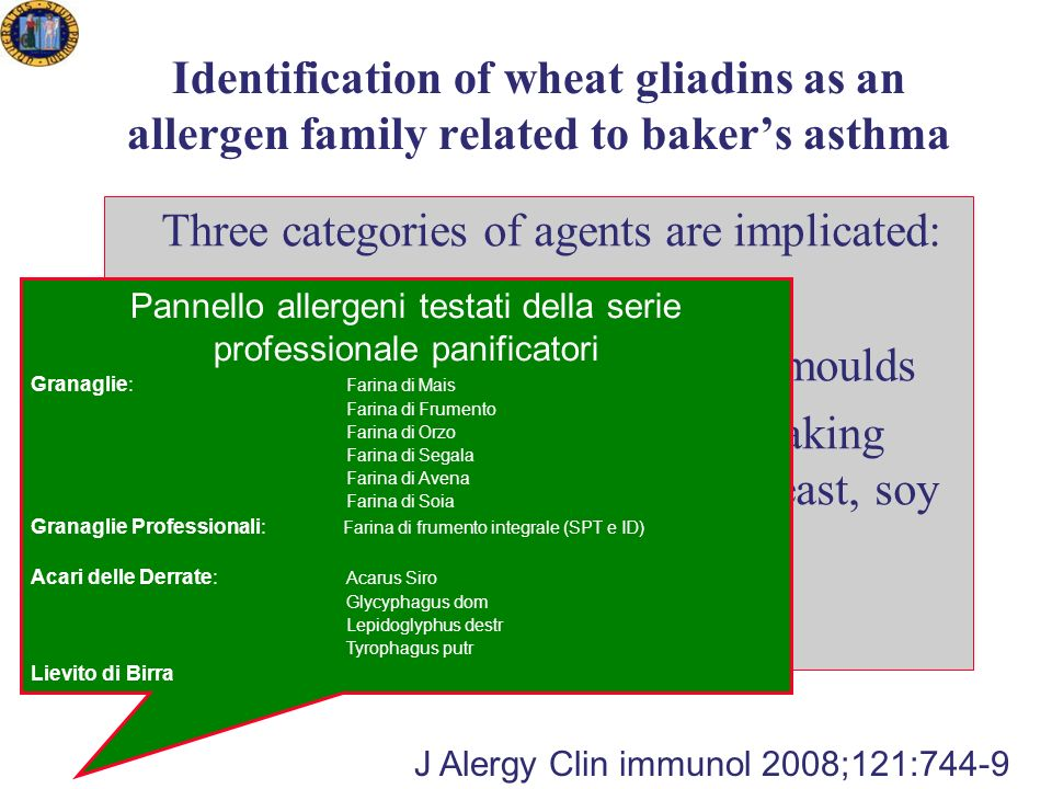 Identification of wheat gliadins as an allergen family related to bakers asthma Three categories of agents are implicated: Flour: wheat, rye Flour contaminants storage mite, moulds Substances added during bread making process: a-amilasi, soy bakerrs yeast, soy lecithin J Alergy Clin immunol 2008;121:744-9 Pannello allergeni testati della serie professionale panificatori Granaglie: Farina di Mais Farina di Frumento Farina di Orzo Farina di Segala Farina di Avena Farina di Soia Granaglie Professionali: Farina di frumento integrale (SPT e ID) Acari delle Derrate: Acarus Siro Glycyphagus dom Lepidoglyphus destr Tyrophagus putr Lievito di Birra