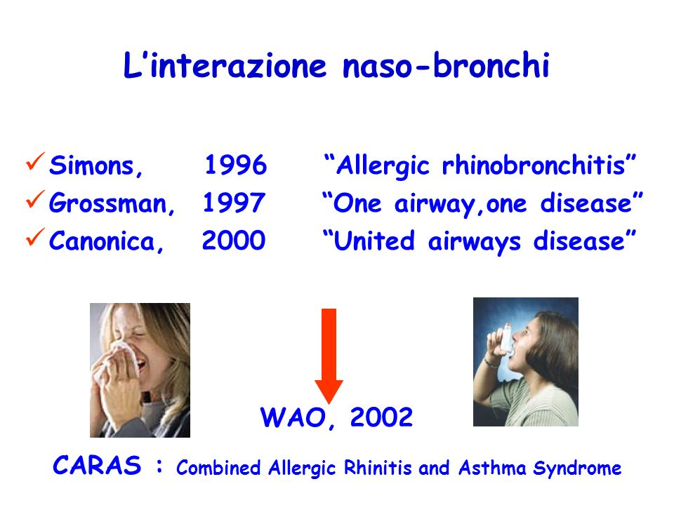 Linterazione naso-bronchi Simons, 1996 Allergic rhinobronchitis Grossman, 1997 One airway,one disease Canonica, 2000 United airways disease WAO, 2002 CARAS : Combined Allergic Rhinitis and Asthma Syndrome