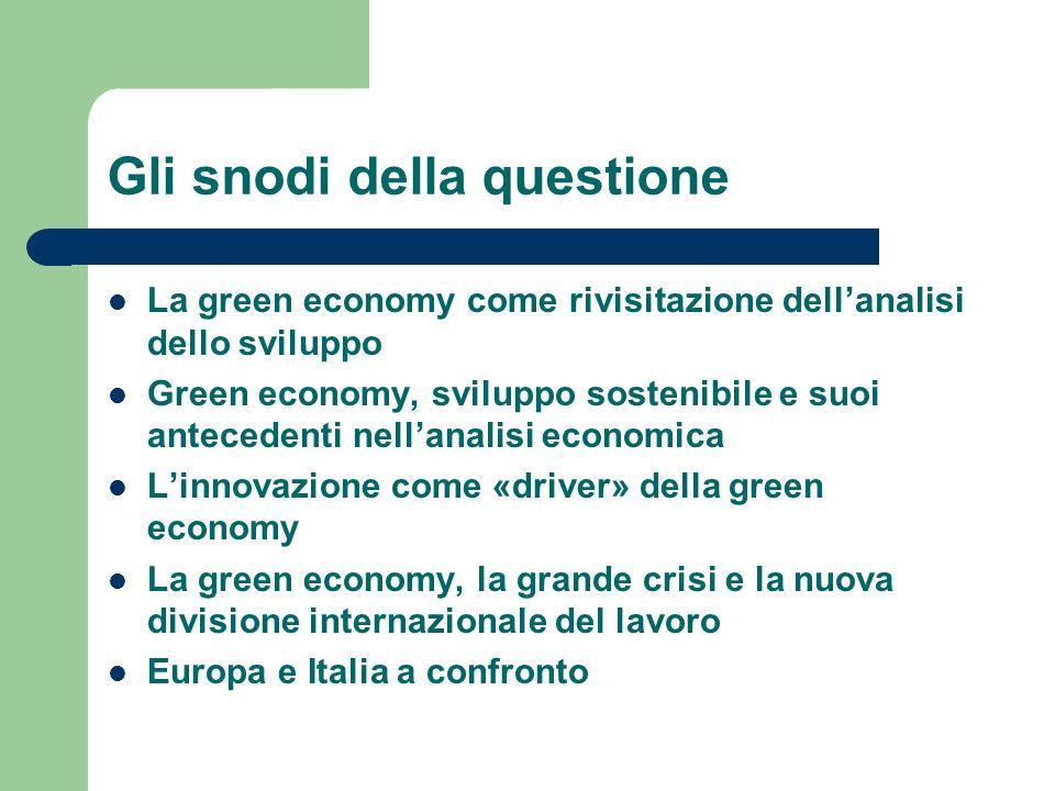 Gli snodi della questione La green economy come rivisitazione dellanalisi dello sviluppo Green economy, sviluppo sostenibile e suoi antecedenti nellan