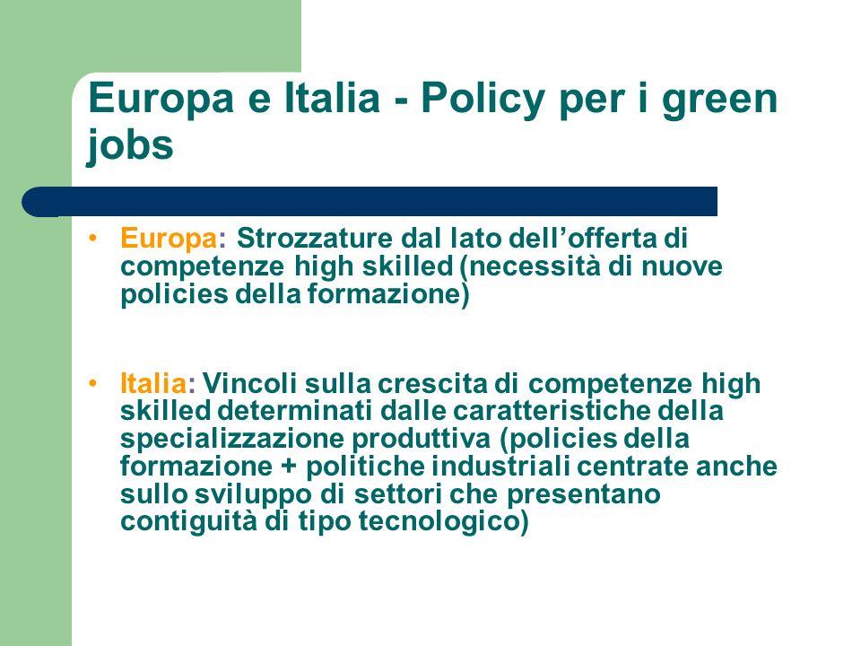 Europa e Italia - Policy per i green jobs Europa: Strozzature dal lato dellofferta di competenze high skilled (necessità di nuove policies della forma