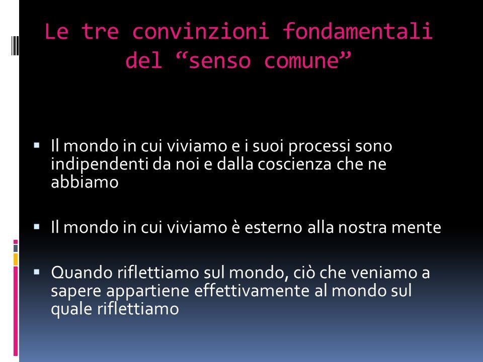 Le tre convinzioni fondamentali del senso comune Il mondo in cui viviamo e i suoi processi sono indipendenti da noi e dalla coscienza che ne abbiamo Il mondo in cui viviamo è esterno alla nostra mente Quando riflettiamo sul mondo, ciò che veniamo a sapere appartiene effettivamente al mondo sul quale riflettiamo