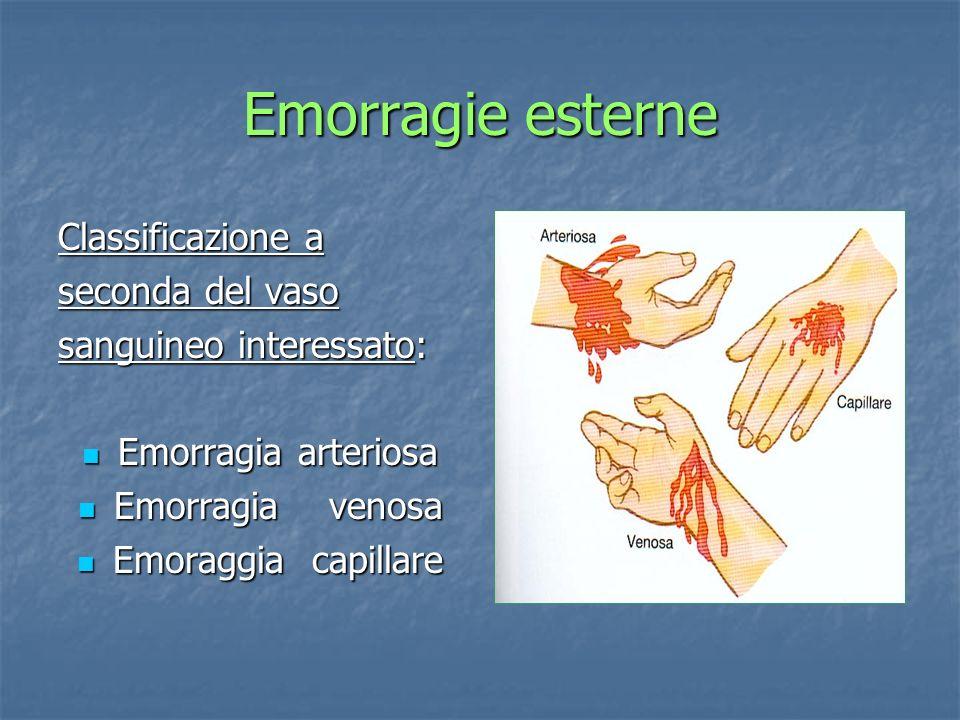 Emorragie esterne Classificazione a seconda del vaso sanguineo interessato: Emorragia arteriosa Emorragia arteriosa Emorragia venosa Emorragia venosa