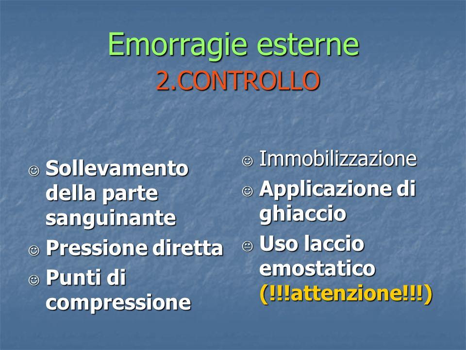 Emorragie esterne 2.CONTROLLO Sollevamento della parte sanguinante Sollevamento della parte sanguinante Pressione diretta Pressione diretta Punti di c