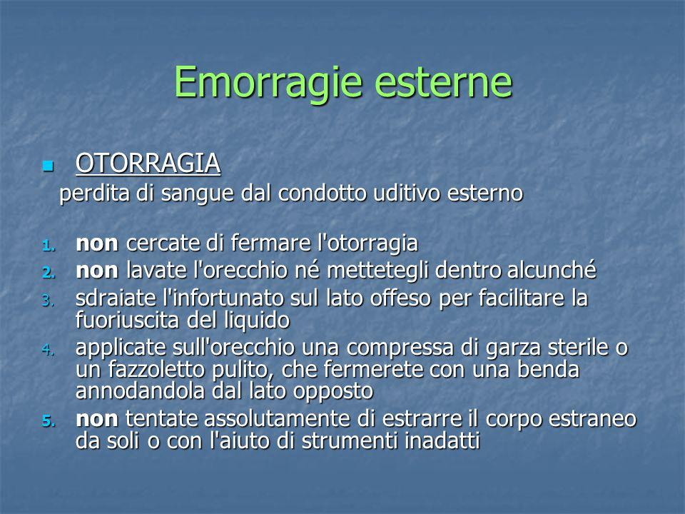 OTORRAGIA OTORRAGIA perdita di sangue dal condotto uditivo esterno perdita di sangue dal condotto uditivo esterno 1. non cercate di fermare l'otorragi
