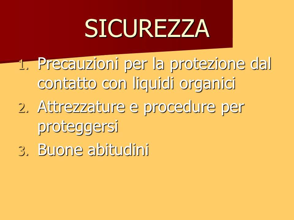 SICUREZZA 1. Precauzioni per la protezione dal contatto con liquidi organici 2. Attrezzature e procedure per proteggersi 3. Buone abitudini