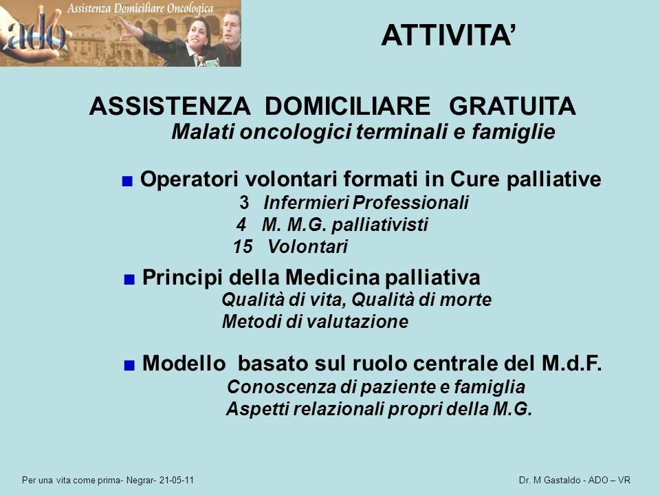 Per una vita come prima- Negrar- 21-05-11 Dr. M Gastaldo - ADO – VR ATTIVITA ASSISTENZA DOMICILIARE GRATUITA Malati oncologici terminali e famiglie Op