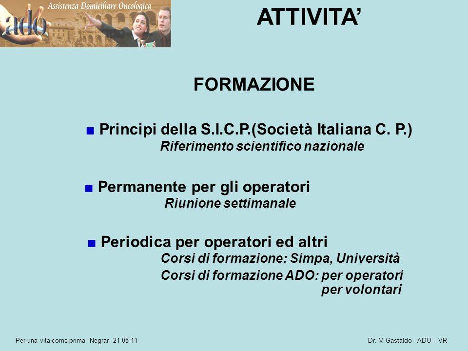 Per una vita come prima- Negrar- 21-05-11 Dr. M Gastaldo - ADO – VR ATTIVITA FORMAZIONE Principi della S.I.C.P.(Società Italiana C. P.) Riferimento sc