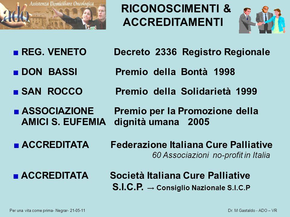 Per una vita come prima- Negrar- 21-05-11 Dr. M Gastaldo - ADO – VR RICONOSCIMENTI & ACCREDITAMENTI REG. VENETO Decreto 2336 Registro Regionale DON BA