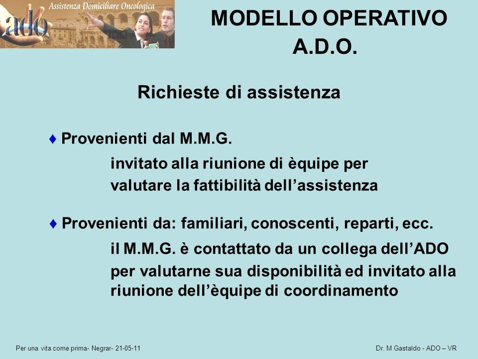 Per una vita come prima- Negrar- 21-05-11 Dr. M Gastaldo - ADO – VR MODELLO OPERATIVO A.D.O. Richieste di assistenza Provenienti dal M.M.G. invitato a