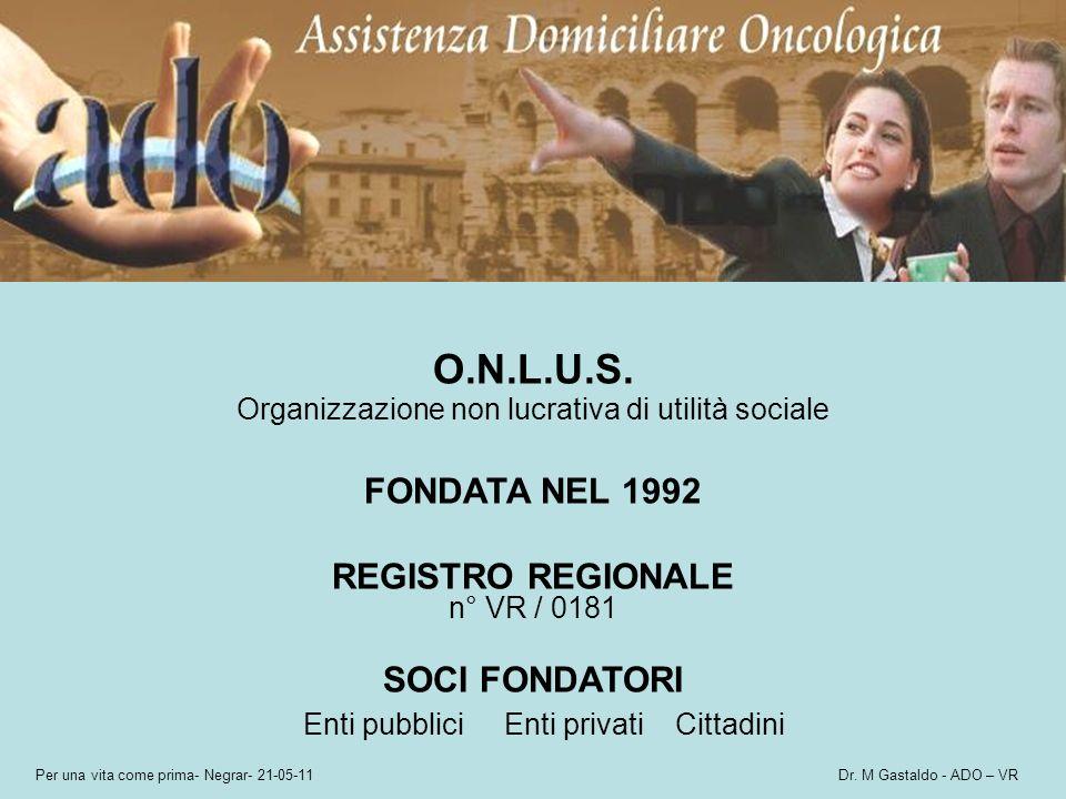 Per una vita come prima- Negrar- 21-05-11 Dr. M Gastaldo - ADO – VR O.N.L.U.S. Organizzazione non lucrativa di utilità sociale FONDATA NEL 1992 REGIST