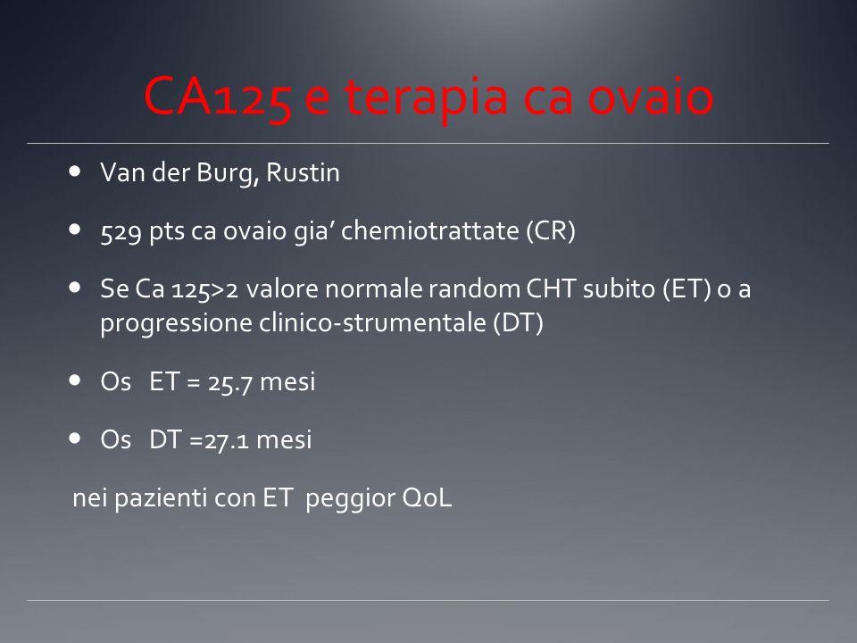 CA125 e terapia ca ovaio Van der Burg, Rustin 529 pts ca ovaio gia chemiotrattate (CR) Se Ca 125>2 valore normale random CHT subito (ET) o a progressi