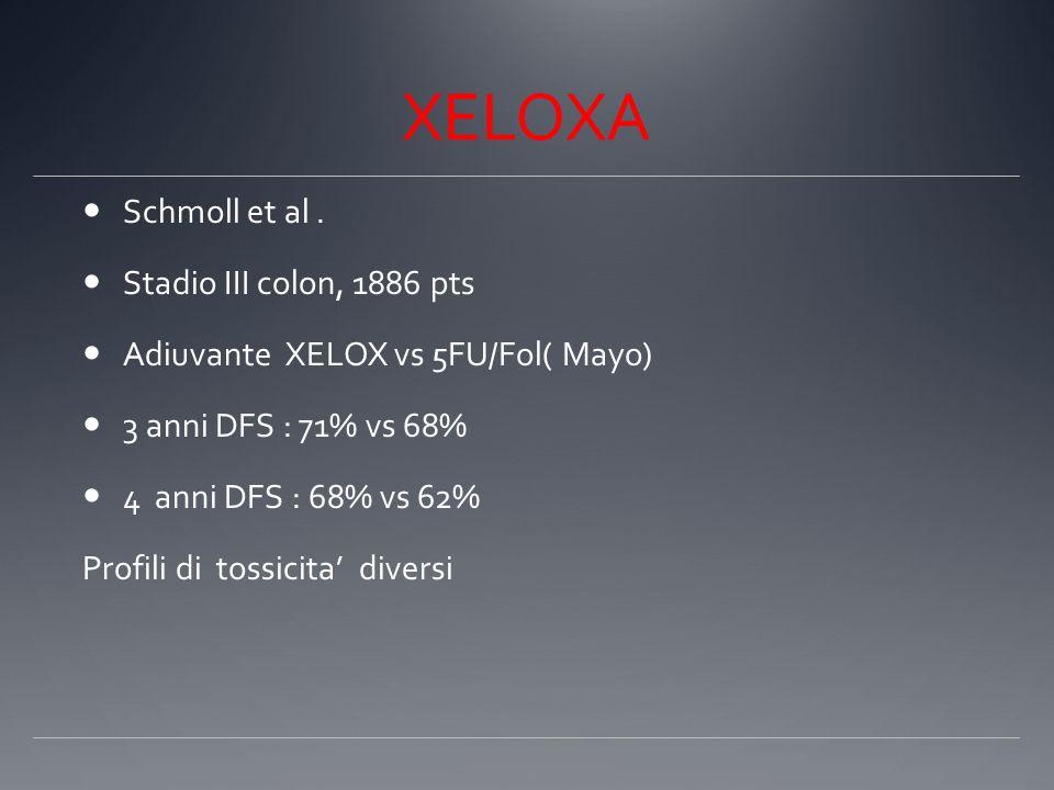 XELOXA Schmoll et al. Stadio III colon, 1886 pts Adiuvante XELOX vs 5FU/Fol( Mayo) 3 anni DFS : 71% vs 68% 4 anni DFS : 68% vs 62% Profili di tossicit