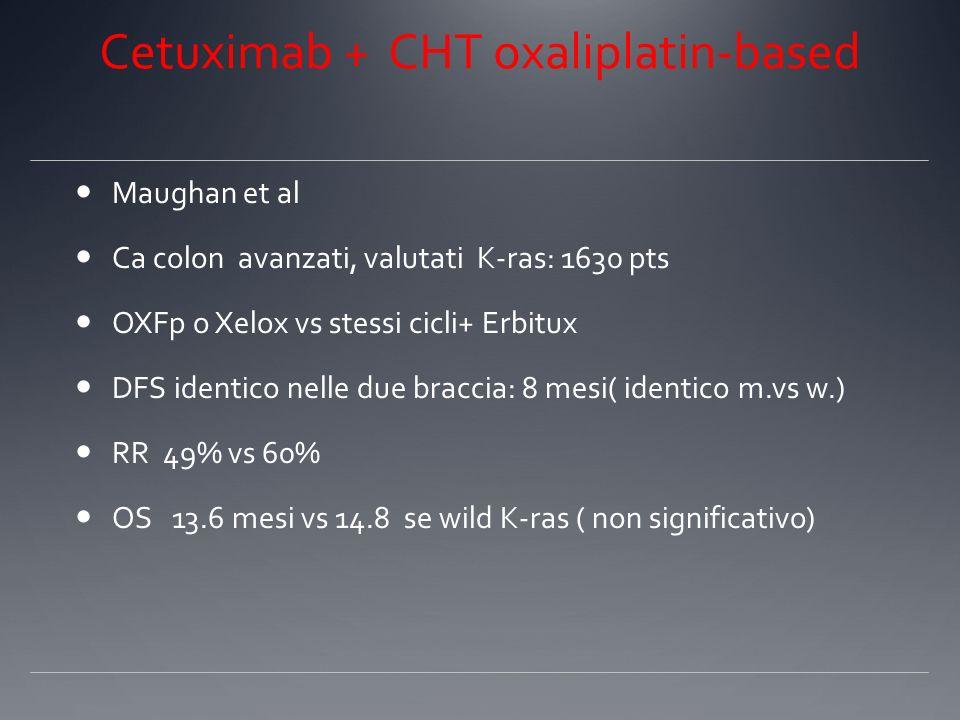PRIME trial Vectibix +Folfox vs Folfox Douillard 1183 pts ca colon a vanzato, 1° linea Panitumumab +/- Folfox 4 Wild type K-ras : PFS 9.6 mesi vs 8.0 mesi ; RR 55% vs 48% Mutant type K-ras : 7.3 mesi vs 8.8 mesi ( inferiore!!!)