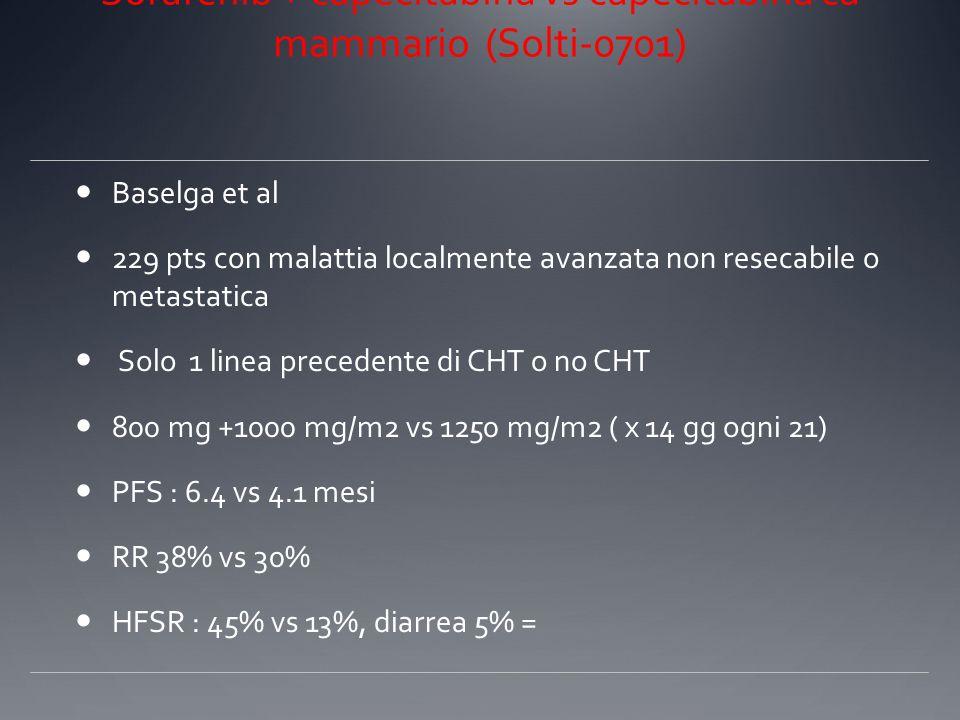Sorafenib + Xeloda vs Xeloda Sorafenib + capecitabina vs capecitabina ca mammario (Solti-0701) Baselga et al 229 pts con malattia localmente avanzata