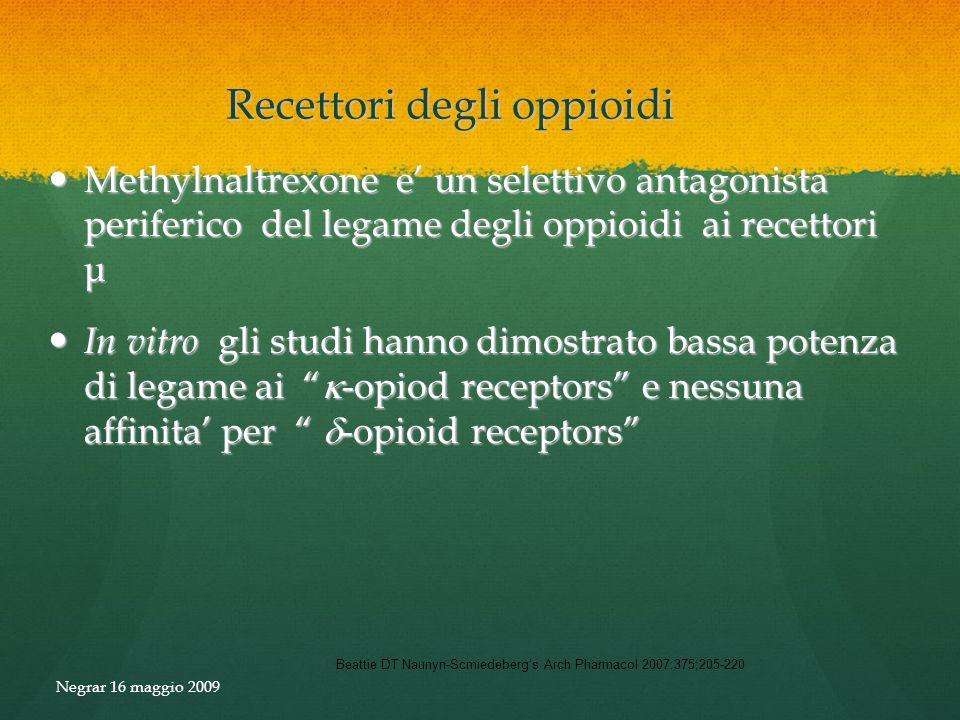 Recettori degli oppioidi Beattie DT Naunyn-Scmiedebergs Arch Pharmacol 2007:375;205-220 Methylnaltrexone e un selettivo antagonista periferico del leg