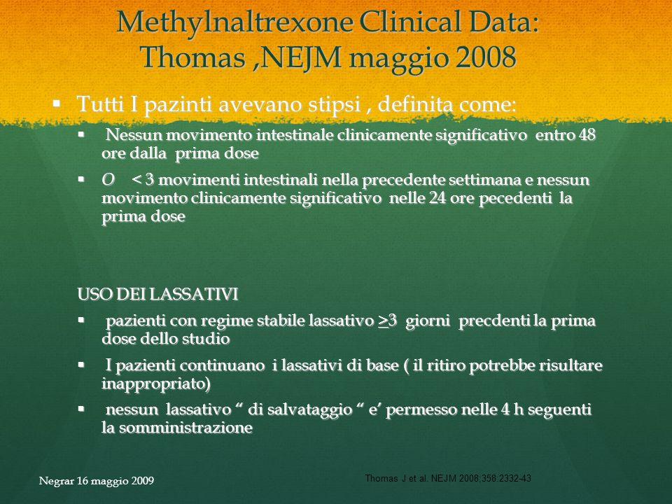 Methylnaltrexone Clinical Data: Thomas,NEJM maggio 2008 Tutti I pazinti avevano stipsi, definita come: Tutti I pazinti avevano stipsi, definita come:
