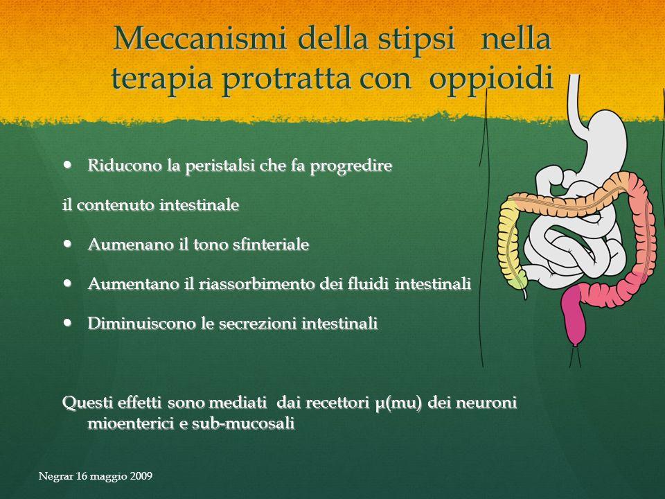 Meccanismi della stipsi nella terapia protratta con oppioidi Riducono la peristalsi che fa progredire Riducono la peristalsi che fa progredire il cont
