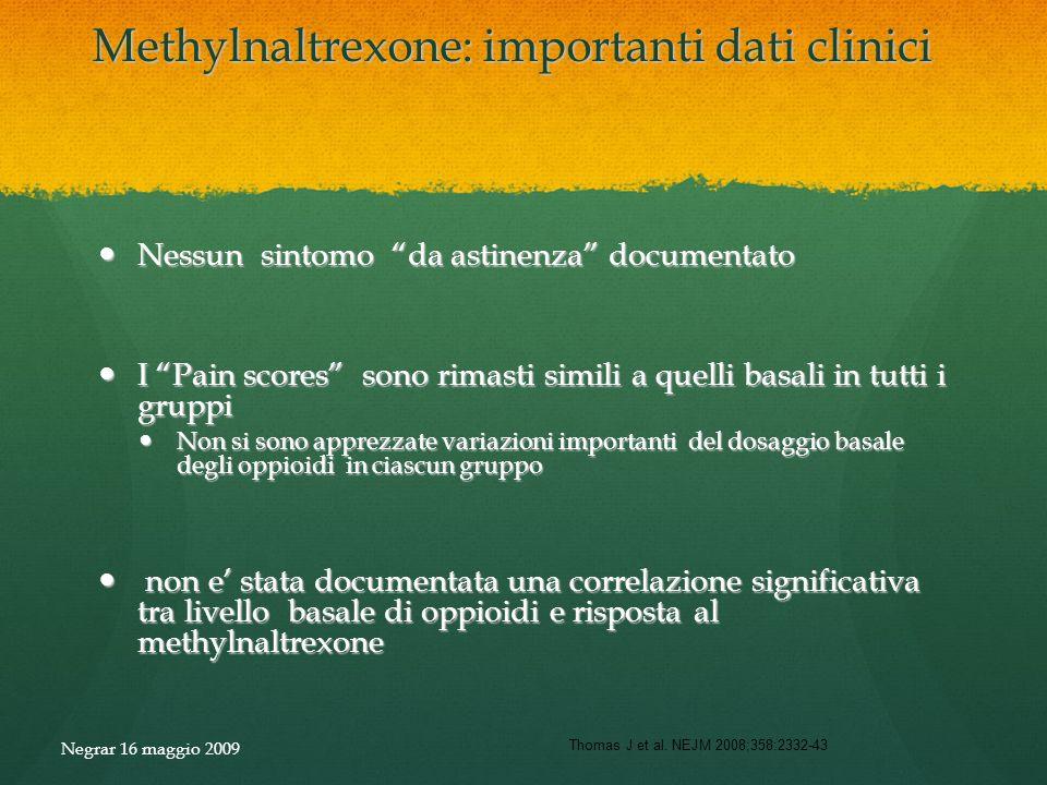 Methylnaltrexone: importanti dati clinici Nessun sintomo da astinenza documentato Nessun sintomo da astinenza documentato I Pain scores sono rimasti s