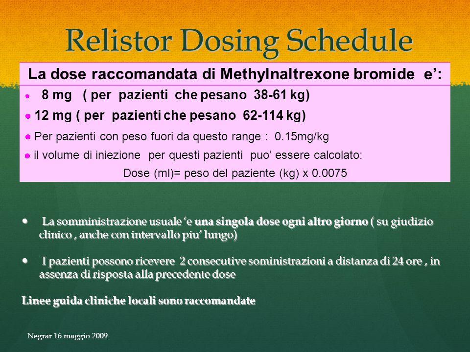 Relistor Dosing Schedule Relistor Dosing Schedule La somministrazione usuale e una singola dose ogni altro giorno ( su giudizio clinico, anche con int