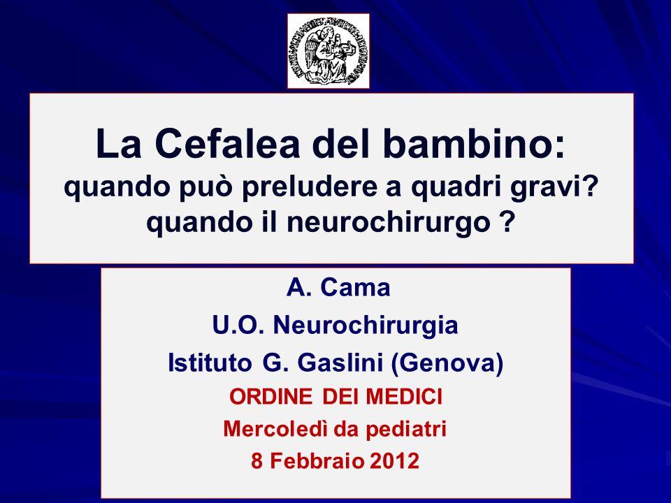 La Cefalea del bambino: quando può preludere a quadri gravi? quando il neurochirurgo ? A. Cama U.O. Neurochirurgia Istituto G. Gaslini (Genova) ORDINE