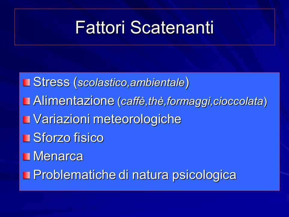 Fattori Scatenanti Stress ( scolastico,ambientale ) Alimentazione (caffè,thè,formaggi,cioccolata) Variazioni meteorologiche Sforzo fisico Menarca Prob