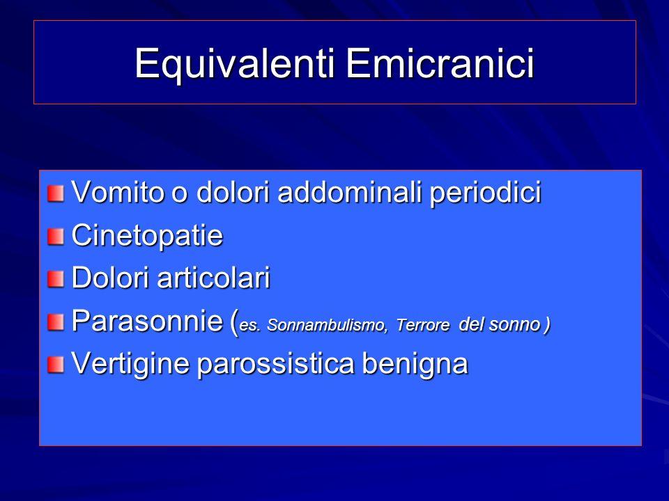 Equivalenti Emicranici Vomito o dolori addominali periodici Cinetopatie Dolori articolari Parasonnie ( es. Sonnambulismo, Terrore del sonno ) Vertigin