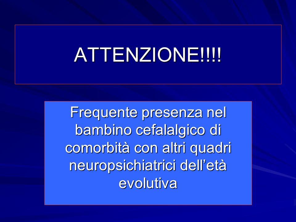 ATTENZIONE!!!! Frequente presenza nel bambino cefalalgico di comorbità con altri quadri neuropsichiatrici delletà evolutiva