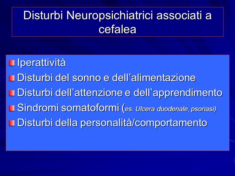 Disturbi Neuropsichiatrici associati a cefalea Iperattività Disturbi del sonno e dellalimentazione Disturbi dellattenzione e dellapprendimento Sindrom