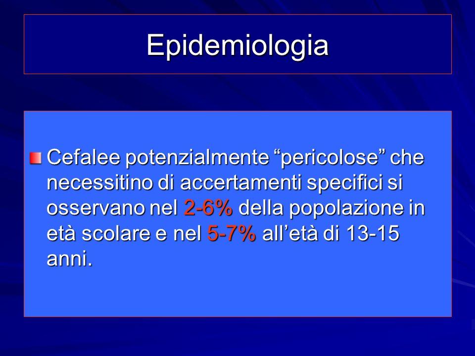 Epidemiologia Cefalee potenzialmente pericolose che necessitino di accertamenti specifici si osservano nel 2-6% della popolazione in età scolare e nel
