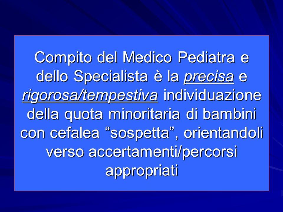 Compito del Medico Pediatra e dello Specialista è la precisa e rigorosa/tempestiva individuazione della quota minoritaria di bambini con cefalea sospe