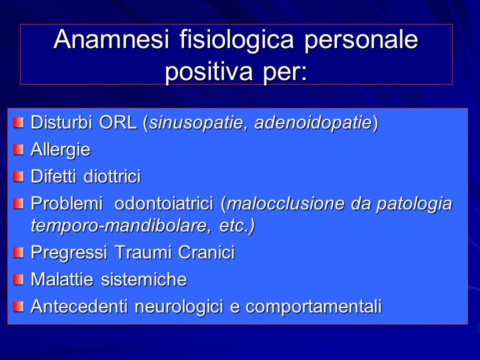 Anamnesi fisiologica personale positiva per: Disturbi ORL (sinusopatie, adenoidopatie) Allergie Difetti diottrici Problemi odontoiatrici (malocclusion