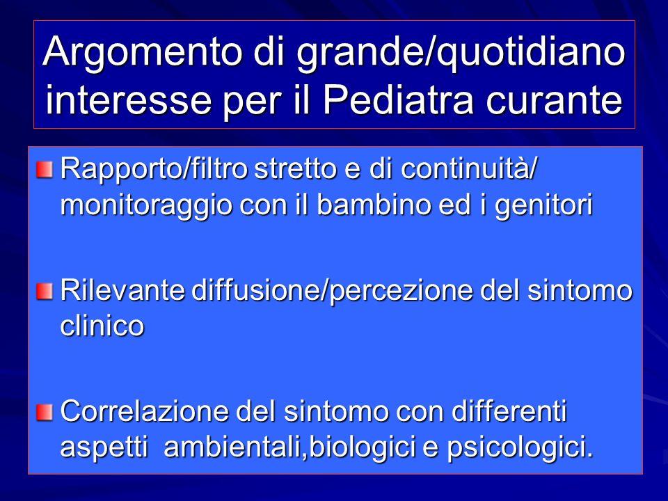 Argomento di grande/quotidiano interesse per il Pediatra curante Rapporto/filtro stretto e di continuità/ monitoraggio con il bambino ed i genitori Ri