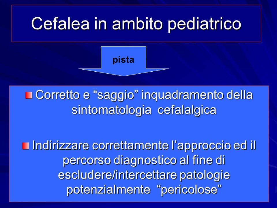 Cefalea in ambito pediatrico Cefalea in ambito pediatrico Corretto e saggio inquadramento della sintomatologia cefalalgica Indirizzare correttamente l