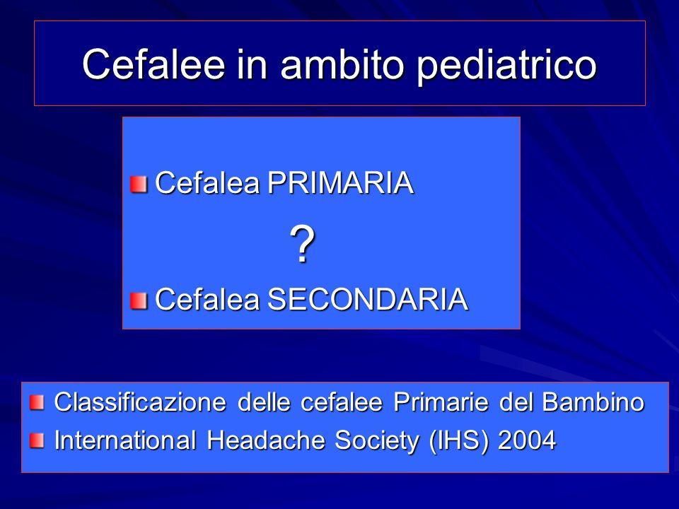 Cefalee in ambito pediatrico Cefalea PRIMARIA ? Cefalea SECONDARIA Classificazione delle cefalee Primarie del Bambino International Headache Society (