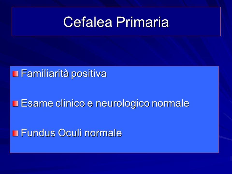 Cefalee Primarie del bambino Emicrania Cefalea Tensiva Rari casi di cefalea a grappolo