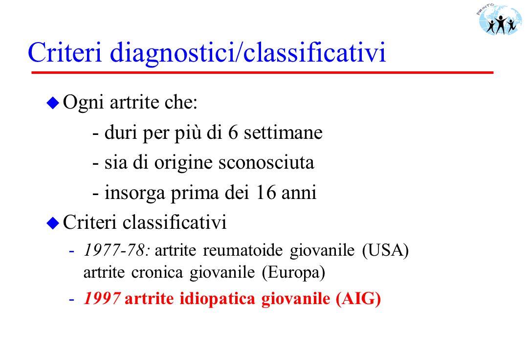 Criteri diagnostici/classificativi u Ogni artrite che: - duri per più di 6 settimane - sia di origine sconosciuta - insorga prima dei 16 anni u Criter
