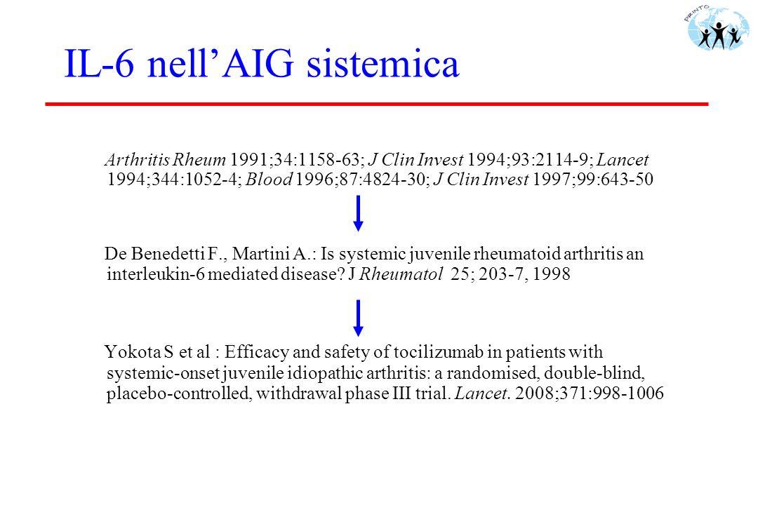 IL-6 nellAIG sistemica Arthritis Rheum 1991;34:1158-63; J Clin Invest 1994;93:2114-9; Lancet 1994;344:1052-4; Blood 1996;87:4824-30; J Clin Invest 199