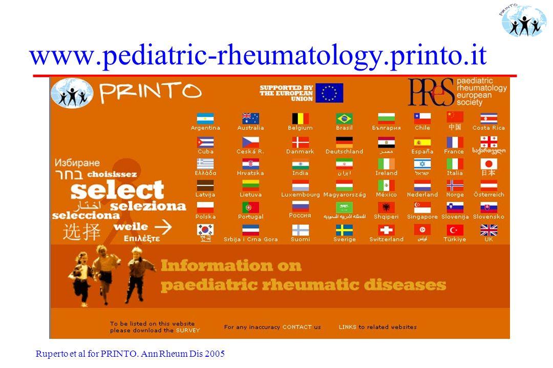 www.pediatric-rheumatology.printo.it Ruperto et al. Annals Rheum Dis. 2005 Ruperto et al for PRINTO. Ann Rheum Dis 2005